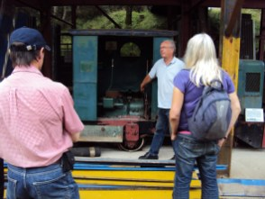 Guide John Rowley shows one of the mining locomotives.