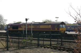 A Diesel loco passes on the mainline