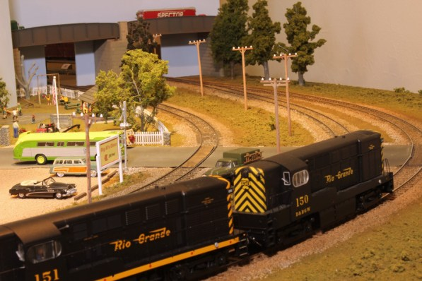 A double headed freight train heads towards Pine Bluffs Depot