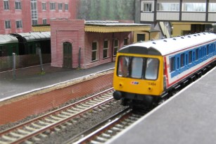 A passenger train prepares to depart.