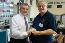 Steve Flint of Railway Modeller presents the Best in Show shield to John Shaw of Abbotstone