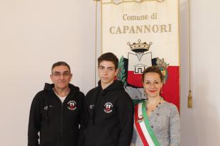 Lorenzo Frugoli e l'assessore allo sport Serena Frediani