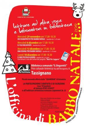 Domani ad Artémisia 'L'officina di Babbo Natale', letture ad alta voce e laboratori per i più piccoli