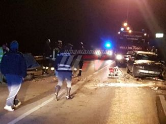 Umbertide, incidente mortale, frontale tra due auto, muore una donna