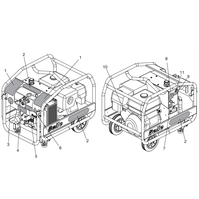 Belle HPP04 Major20 140X Hydraulic Power Pack Decals