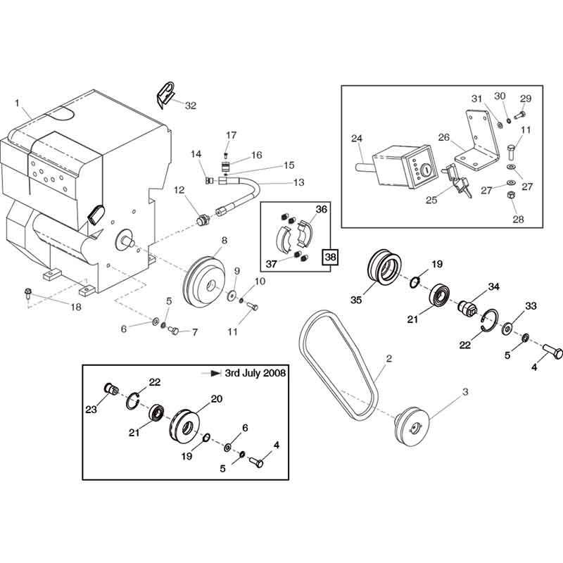 Belle RPC45 60Hatz Motor Plate Compactor Parts