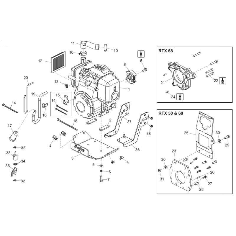 Belle Rammer RTX50 Engine GX100 Rammer Tamper Parts