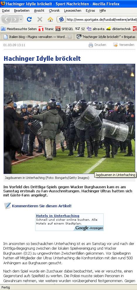 Sportgate berichtet über Jagdsuenen (sic) in Unterhaching