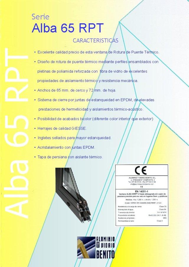 ALBA 65 - Ventana de aluminio con ahorro energético  con rotura de puente térmico.