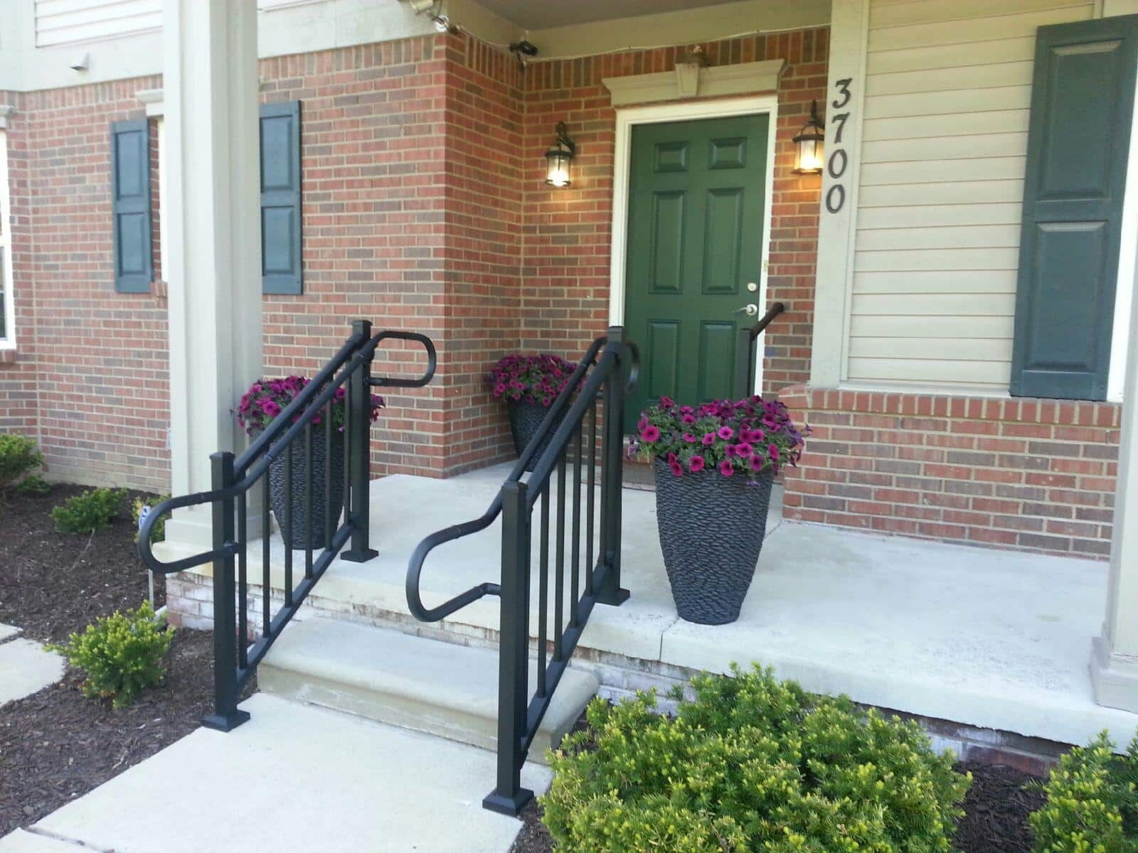The Proper Handrail Height Aluminum Handrail Direct | Handrails For Outside Steps | Single Step | Rustic | Aluminum | Front Porch | Walkway