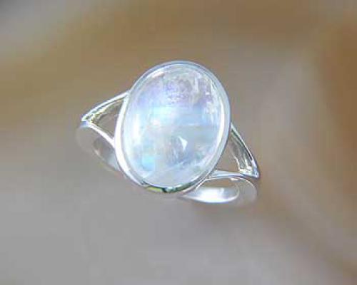 Grosser Mondstein Ring  925 Silber  ALUNASchmuckde