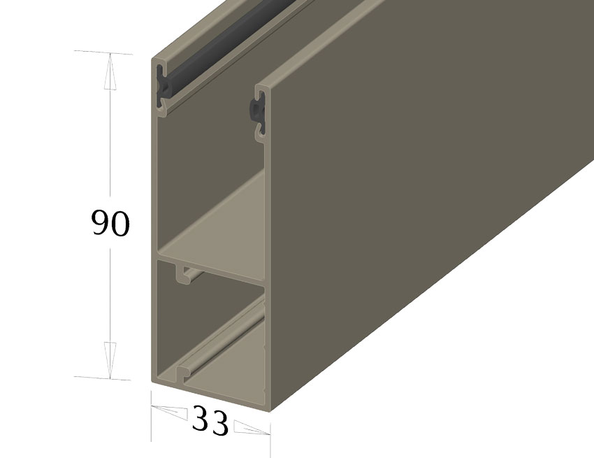 New GR90X33(I) guide rail for roller garage doors and