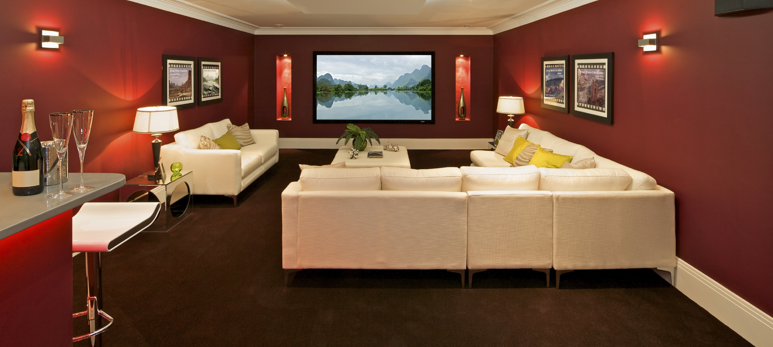 brown leather sofa on grey carpet foldable foam bed india basement home theater design ideas for your modern