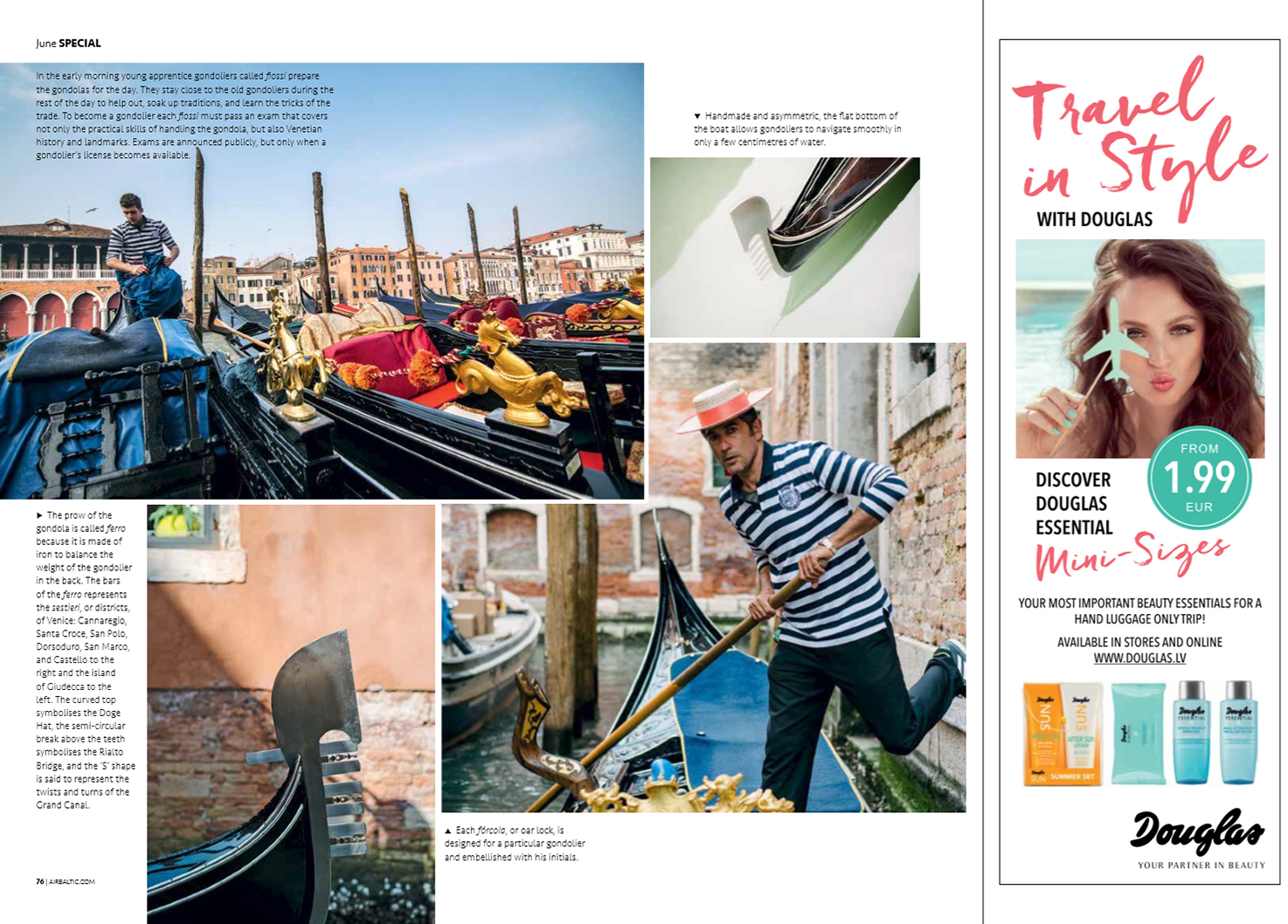 baltic outlook june issue venice reportage gondola photography photographer inflight magazine airbaltic