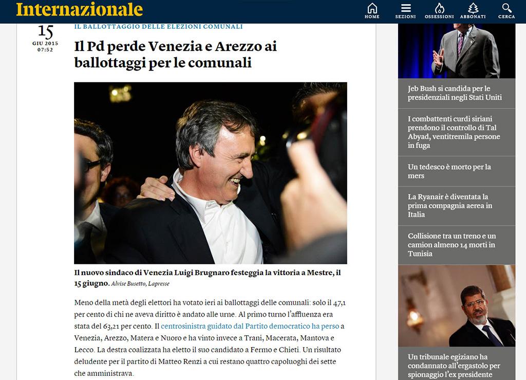 internazionale luigi brugnaro sindaco venezia elezioni
