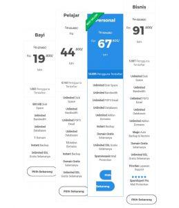table harga web hosting terbaik niagahoster