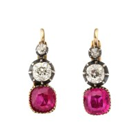 A La Vieille Russie| Victorian Ruby and Diamond Drop ...