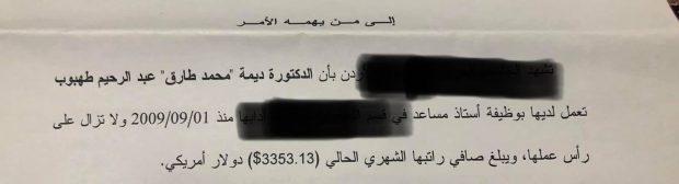 , عاجل .. بالوثيقة …النائب ديمه طهبوب تكشف : هذا راتبي قبل أن اصبح نائباً