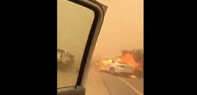 """فيديو  قتيل وجريح بحادث مروع.. """"ولعت"""" السيارة!"""