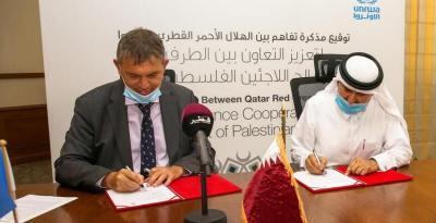 """الهلال الأحمر القطري و""""الأونروا"""" يوقعان اتفاقية لدعم اللاجئين الفلسطينيين"""
