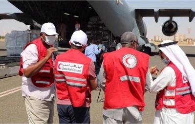 الهلال الأحمر السوداني يستقبل طائرات مساعدات من قطر