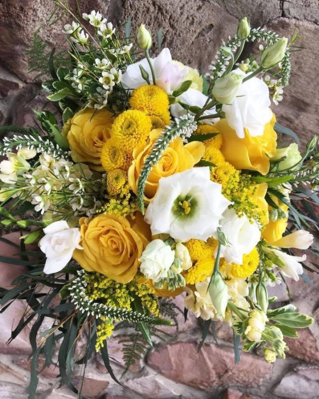 burst of yellow bridal bouquet