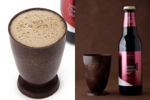 サンクトガーレン「インペリアルチョコレートスタウト」と、食べられるチョコレート製グラスのセット