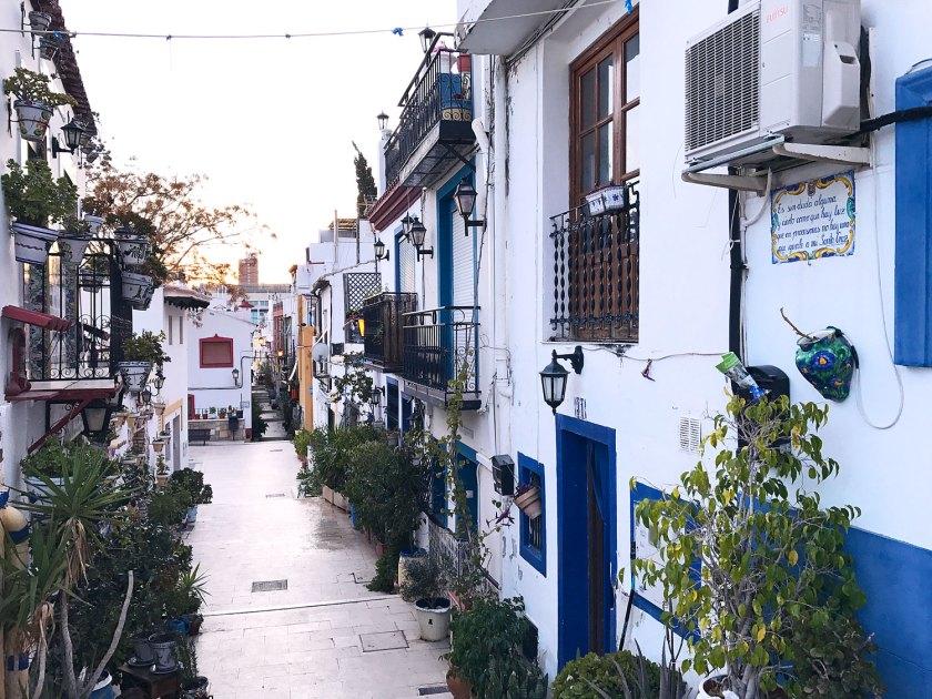 Pretty streets of barrio Santa Cruz in Alicante