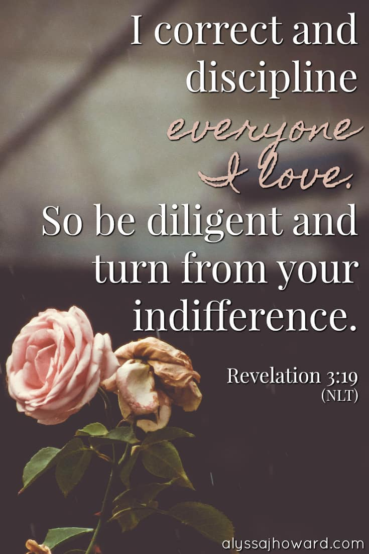 I correct and discipline everyone I love. So be diligent and turn from your indifference. - Revelation 3:19