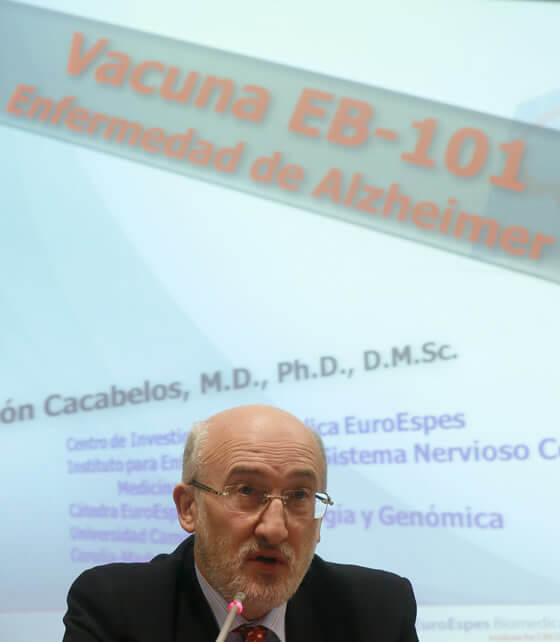 Spanish doctor Ramon Cacabelos talks during a news conference presenting a preventive and therapeutic vaccine against Alzheimer's disease that was developed by Spanish scientists in Madrid January 17, 2013. According to Cacabelos, the EB-101 vaccine has been proven efficient when applied to transgen