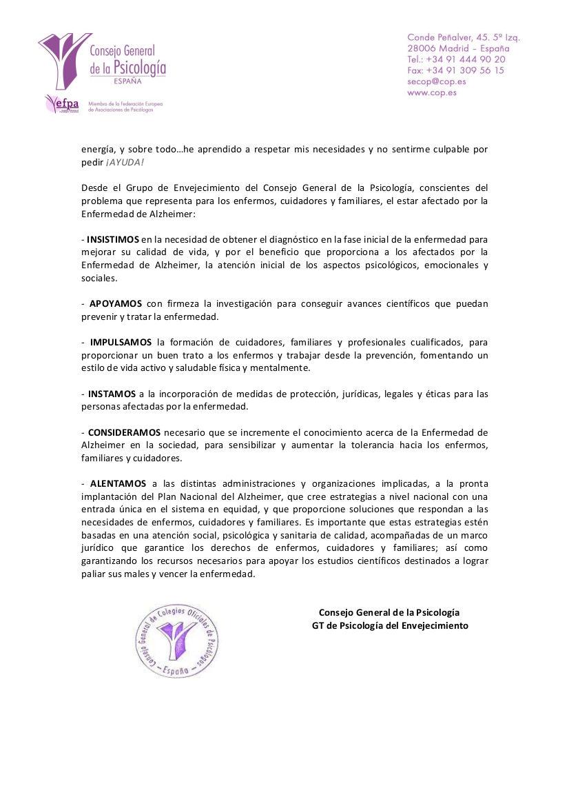 ALZHEIMER CONCIENCIA SOCIAL (DÍA MUNDIAL DEL ALZHEIMER)
