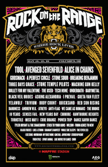 Rock On The Range admat with band lineup and venue details
