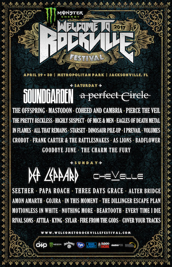 Monster Energy Welcome To Rockville flyer with band lineup and venue details