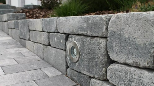 Elément de muret en blocs bi-muro gris ardoise avec spot intégré, Epinal