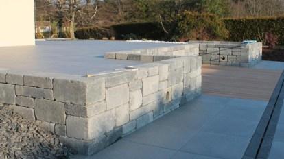 Muret de retenue de terrasse en blocs bi-muro gris ardoise, Epinal