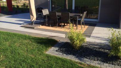 Terrasse mixte dallage et bois, Epinal
