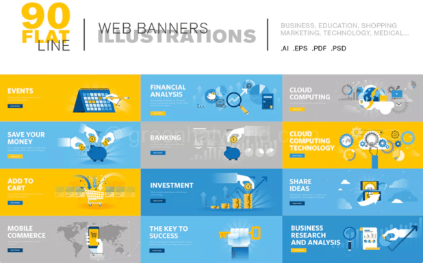 Flat-Line-Web-Banners-Template