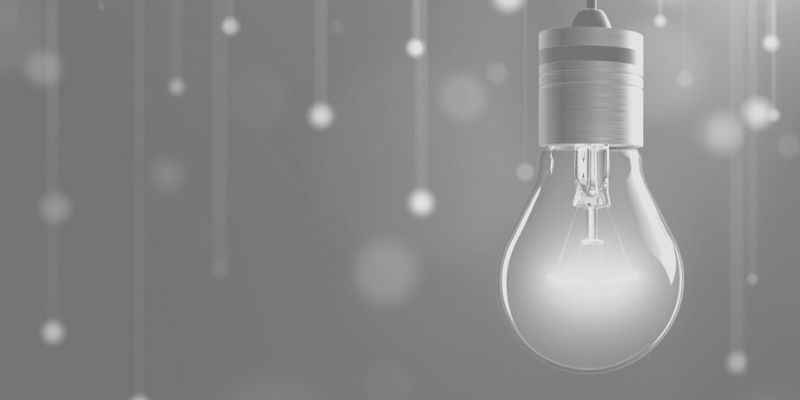 black and white picture of lightbulb that symbolizes thinking