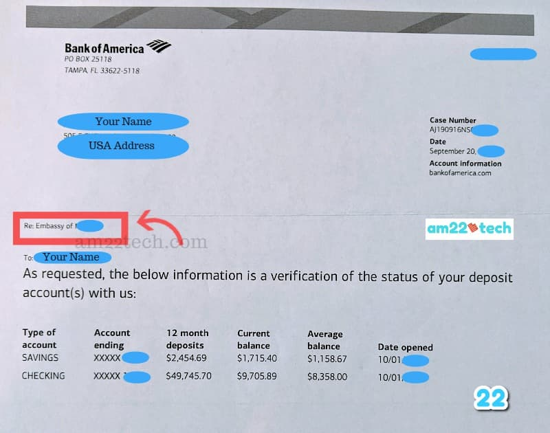 Bank Account Verification Letter For Visa Immigration Usa