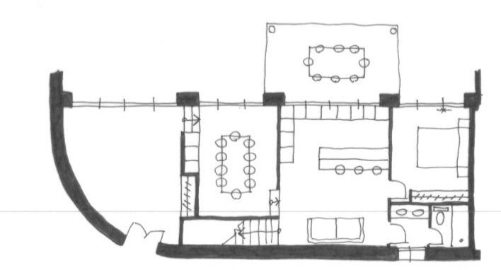 planta baja del refugio de Menchu