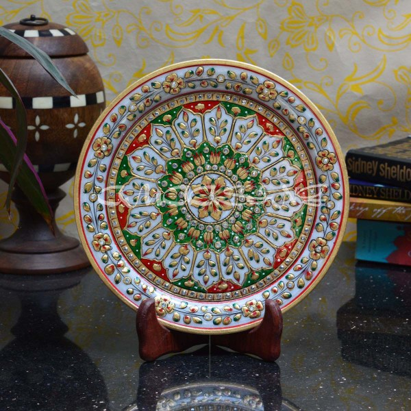 Floral Decorative Marble Plate With Wooden Stand