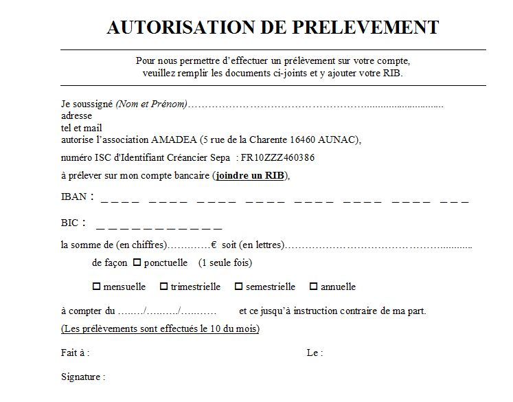 autorisation de prelevement