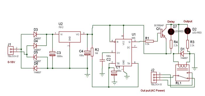 555 ডিলে সার্কিট - ডায়াগ্রাম (555 Based Delay Circuit Diagram)