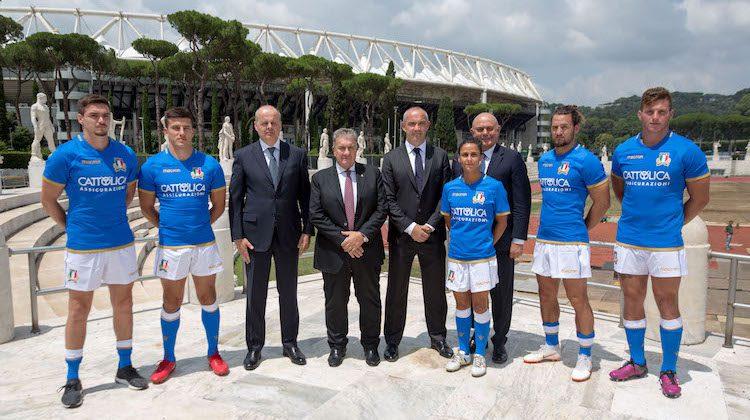 maglia nazionale rugby sponsor Cattolica