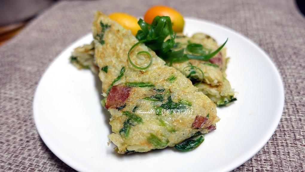 蔬菜蛋煎飯餅-剩飯做煎餅