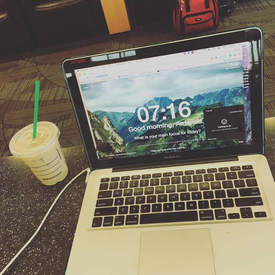 Getting work done while waiting for a flight. Yes, we really do this.