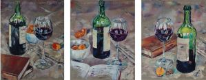 Red Wine and Apricots: a series of three still life paintings