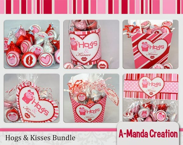 Hogs and Kisses Valentine's Day Printable Gifts and Treats