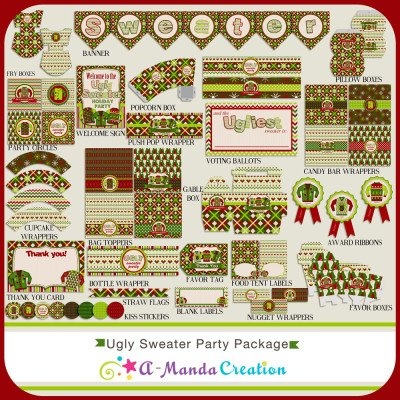 Ugly Christmas Sweater Party Printables