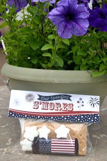 Star Spangled S'mores Bag Topper and Candy Bar Set